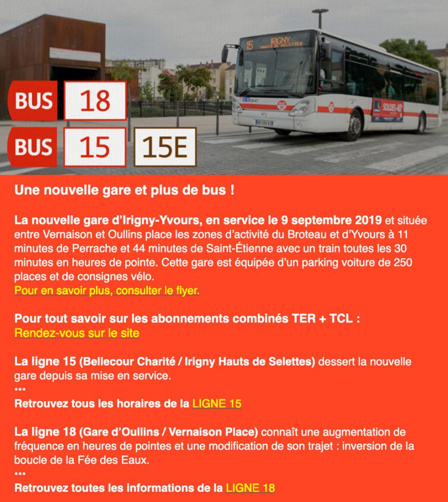 Article sur les nouvelle lignes de bus 18,15 et 15E